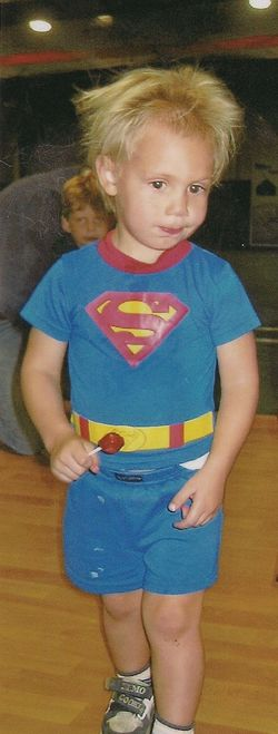Eli in superman jammies
