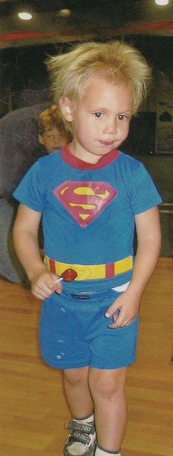 Eli in superman jammies