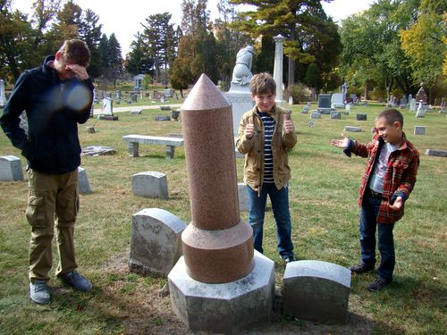 Boys at penis grave