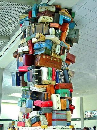 High stack of luggage