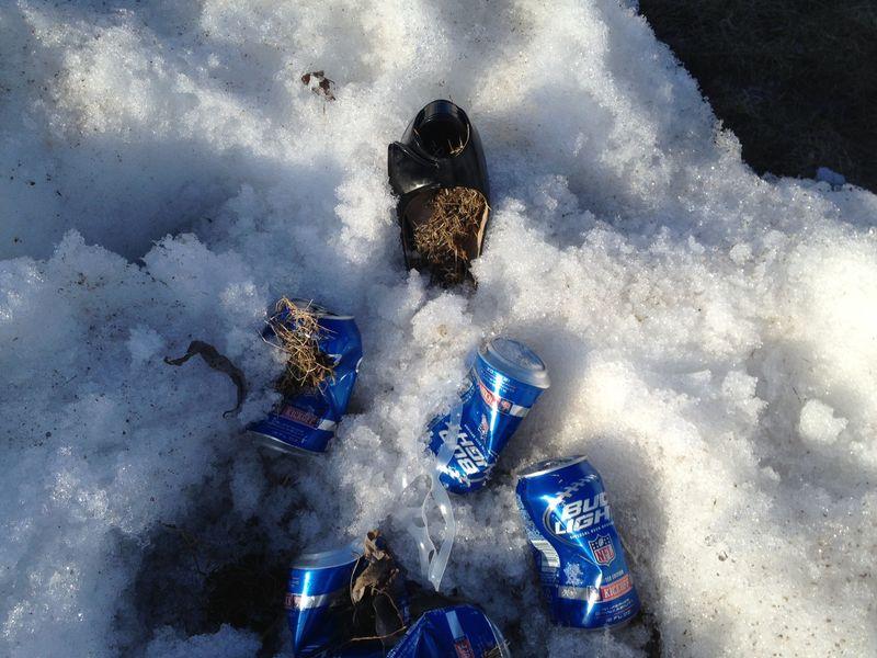 Heel in snow