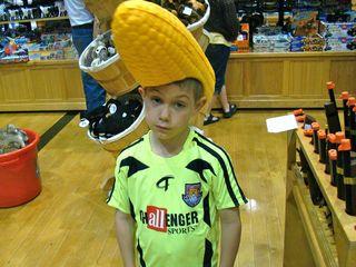 Eli with cornhead