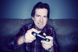 Man playing video game