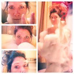 Selfie bubble bath