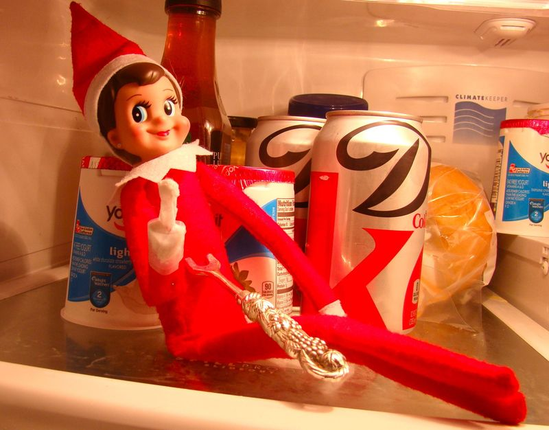 Elf in fridge