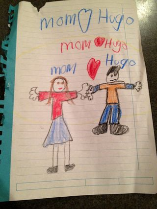 Hugo and mom drawing