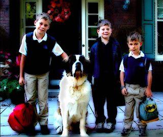 Boys and big ben on porch